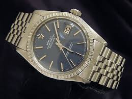 vintage mens rolex datejust stainless steel date watch w blue dial fullview