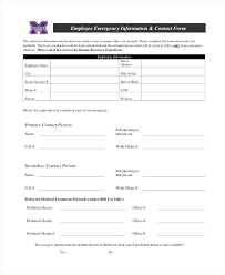 Employee Medical Emergency Contact Form Staff Template Pre