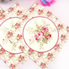 Flower Printed Paper Color Printed Napkin Wedding Wedding Cup Flower Paper Placemat Paper Towel Paper Powder Green Small Floral Rose Restaurant Paper