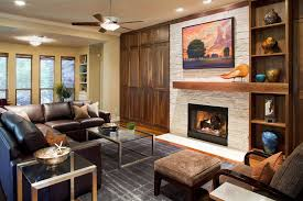 austin craftsman fireplace mantel living room contemporary with glass coffee table traditional fireplaces ceiling fan