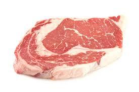 raw ribeye steak with lots of marbling