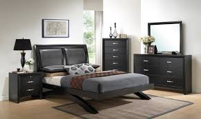 crown mark b4380 galinda modern black finish faux leather queen bedroom set 5pcs