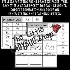 Manuscript Letter Formation Chart Dyslexia Handwriting Practice Letter Formation Manuscript Print Letter Writing