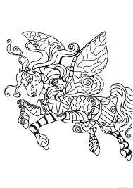 Coloriage Adulte Cheval Licorne Dans Les Airs Dessin