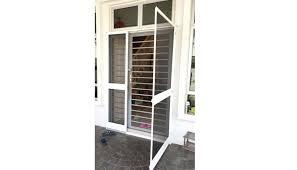this screen has stylish design and very durable with reasonable suitable for sliding glass door even without iron grill and swing glass door