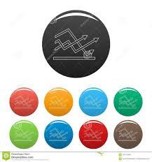 Line Chart Icons Color Set Stock Illustration Illustration