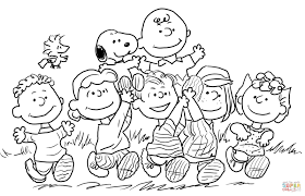 Snoopy With The Peanuts Gang Coloring Page Free Printable Coloring