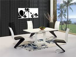 white high gloss extending dining table and 4 chairs