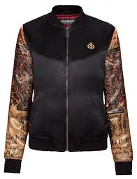 embroidered women s satin er jacket with printed sleeves