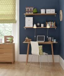 ideas for an office. Inspiration : 10 Beautiful Home Office Design Ideas, Simple Desk And Floating Shelves. Also Like The Wall Color. Ideas For An