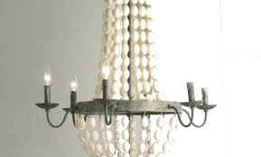 small wood bead chandelier world market antique white home improvement engaging beads and iron basket