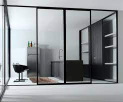 black frame sliding glass door