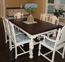 dining room table and chair set in java gel stain and linen milk paint