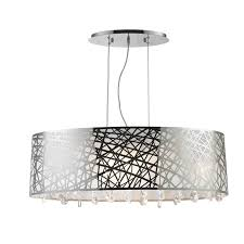 high gloss modern 8 light halogen chrome finish oval drum shade with crystal chandelier