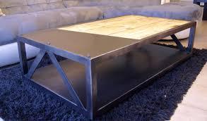 Table De Salon Bois Et Metal 2 Table Basse Au Design Industriel