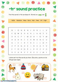 Phonics printable worksheets and activities (word families). H Sound Practice Worksheet
