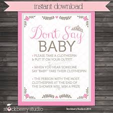 Baby Shower Clothes Pin Game Stunning Princess Baby Shower Don't Say Game Printable Pink Baby Shower