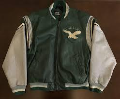 rare vintage mirage nfl philadelphia eagles football leather jacket