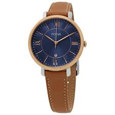 fossil jacqueline blue dial las leather watch es4274