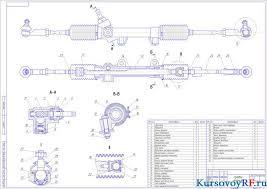 Курсовой расчет и проектирование рулевого управления в автомобиле  Чертеж рулевого механизма