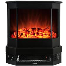 freestanding electric fireplace stove heater in black with tempered glass realistic