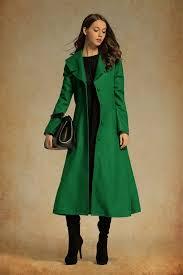 dark green wool maxi coat cashmere coat long wool jacket wool winter coat