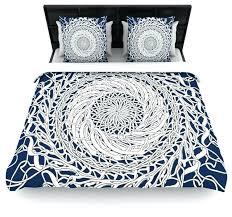 navy blue cal king duvet cover mandala spin white home design