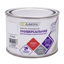<b>Эмаль алкидная универсальная</b> Lakra, 0,5 л, белая глянцевая ...