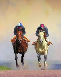 high expectations limited edition horse racing print by british equestrian artist peter smith