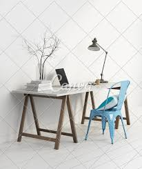 Elegant Minimal White Home Office With Blue Chair Photos