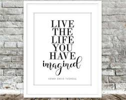 live the life you have imagined printable art ralph waldo emerson inspirational quote black white typography art print digital download on live the life you imagined wall art with live the life you ve imagined typography quote print