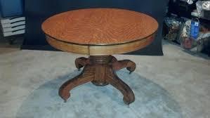 antique tiger oak pedestal table side