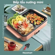 Bếp lẩu nướng điện 2 ngăn Heysmart đa năng tiện dụng, nồi điện mini ngăn  riêng biệt nhỏ gọn - Bộ nồi Nhãn hàng No Brand