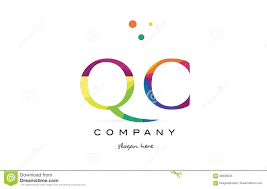 qc q c creative rainbow colors alphabet letter logo icon