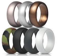 Thunderfit Silicone Rings 7 Pack 1 Ring Wedding Bands For Men 8 7 Mm Wide