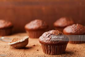 delicious food background.  Food Food Background From Chocolate Banana Muffins On Brown Rustic Table  Delicious Homemade Bakery  In Background F