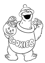 Small Picture Halloween Cookie Monster Coloring Pages Coloring Sky