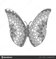 Tekening Zentangle Voor Volwassen Kleurplaat Vlinder Stockvector