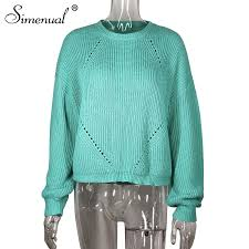 <b>Simenual Knitted</b> Fashion Solid Women <b>Sweater Autumn</b> Winter ...
