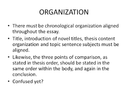 oh joy it s time to learn about chronological organization organization there must be chronological organization aligned throughout the essay