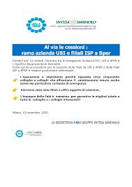 FABI Gruppo Intesa Sanpaolo - Al via le cessioni: ramo azienda UBI e  filiali ISP a Bper