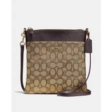 Coach Messenger Crossbody In Signature Jacquard Khaki Brown