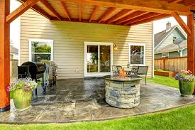 Exellent Covered Patio With Fire Pit Firepit On Under Back Porch Throughout Impressive Design