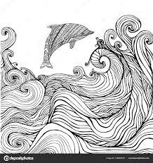 Vettore Di Onde Del Mare Da Colorare Per Bambini Delfino E Oceano