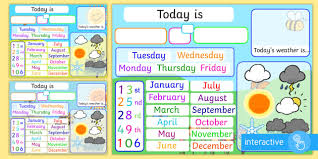 Date Chart For Classroom Date And Weather Interactive Daily Interactive Activity