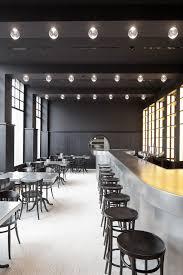 Modern restaurant bar - with black round stools