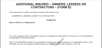 cg 2010 additional insured endorsement