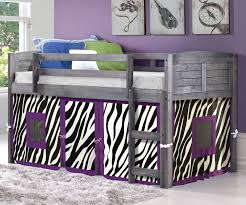 Louvered Bedroom Furniture Louver Low Loft Bed With Zebra Tent Antique Grey 790aag Z Donco
