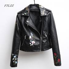 2019 ftlzz autumn embroidered leather jacket women fashion slim vintage pu leather motorcycle jacket short design zipper black coats from hongzhang
