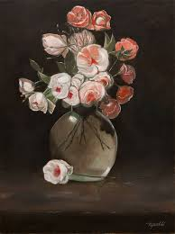 flowers in a vase original oil painting on hdf by artist darko topalski